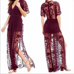 Gianni Bini Plum Lace Maxi Dress/Romper